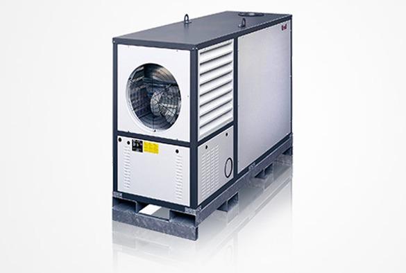 Heteluchtverwarming 150.000 kcal/h.
