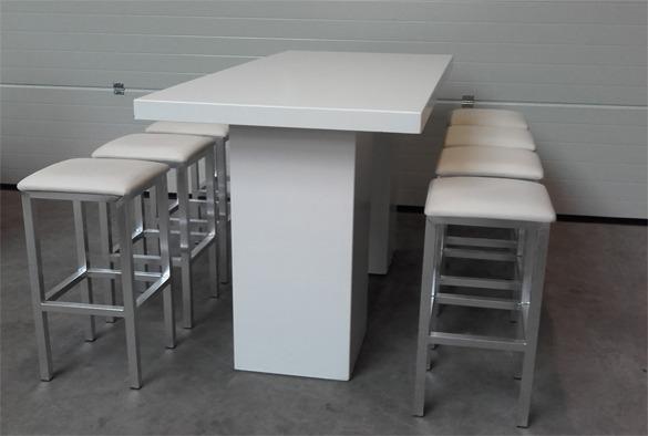 Statafel lounge rechthoekig wit 2