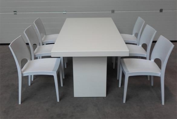 Lounge tafel rechthoekig laag wit 6