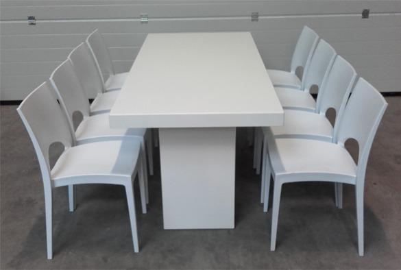 Lounge tafel rechthoekig laag wit 4
