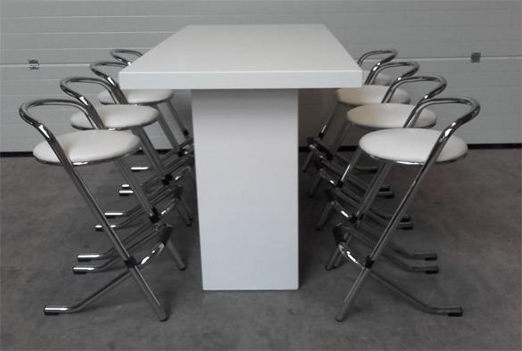 Statafel lounge rechthoekig wit 4