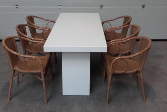 Lounge tafel rechthoekig laag wit 2