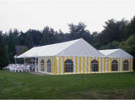 Partytent 7 mtr. wit of geel/wit